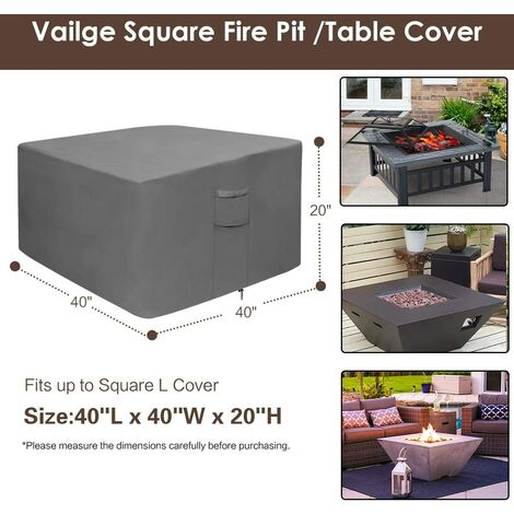 Fire pit cover, 100% waterproof square gas fire pit table cover, outdoor heavy duty lawn patio furniture cover with vents and handles, 36 inches long x 36 inches wide x 20 inches high, beige and brown p