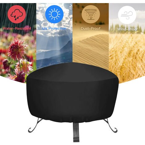 Fire pit cover Round Waterproof Outdoor Garden Patio Protective Cover