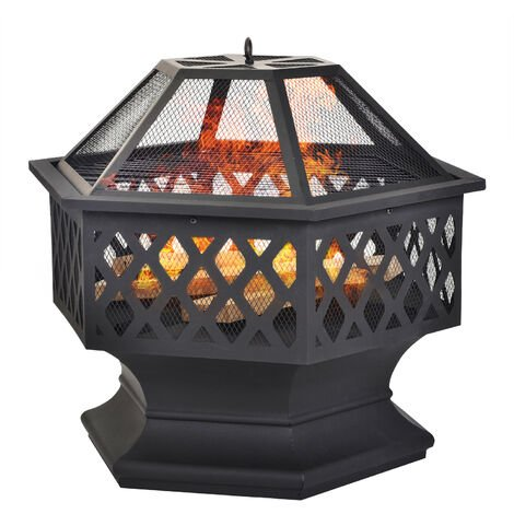 Fire Pit for Garden and Patio Includes BBQ Grill