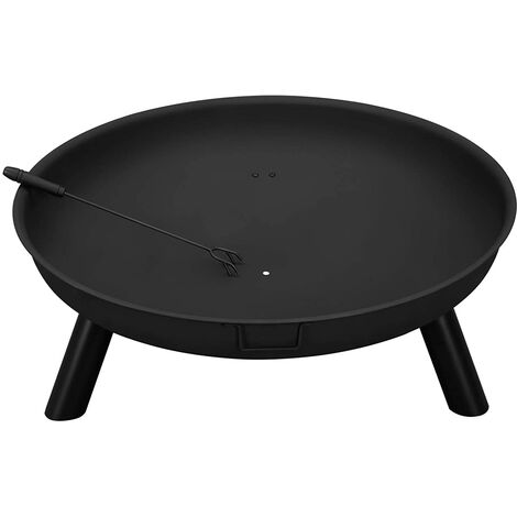 Fire Pit, Outdoor Heater, Patio Brazier with Poker, Round, 77 Dia. x 25 cm, for Garden, Campfire, Iron, Black GFP80BK - Black