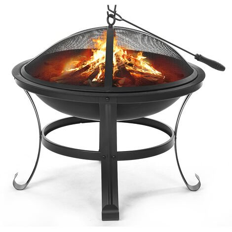 Fire Pit Outdoor Round BBQ Brazier Heating Fireplace 56*56*45cm