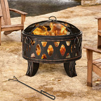 Fire Pit Stove Heater Stable Iron Brazier Garden Patio Outdoor W/Poker & Lid New