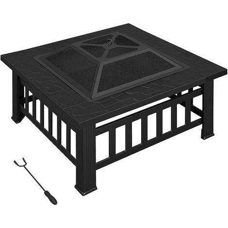 Fire Pit with Barbecue Grill, Patio Heater, Outdoor Brazier, Square Table, 81 x 81 x 50 cm, with Poker and Lid, for Garden, Metal, Black GFP81BK - Black