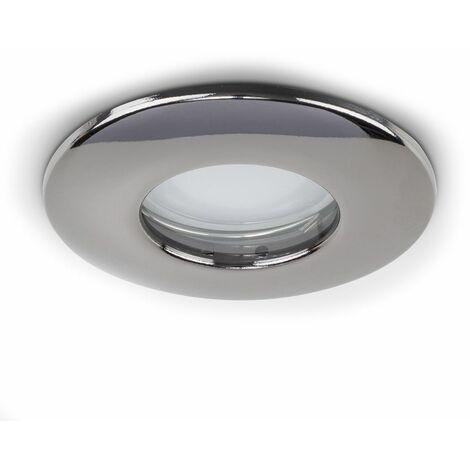 Fire Rated Bathroom IP65 Domed GU10 Ceiling Downlight Spotlights - Black Chrome