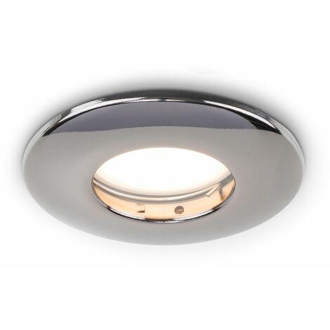 Fire Rated Bathroom IP65 Domed GU10 Ceiling + Warm White GU10 LED Bulb - Chrome
