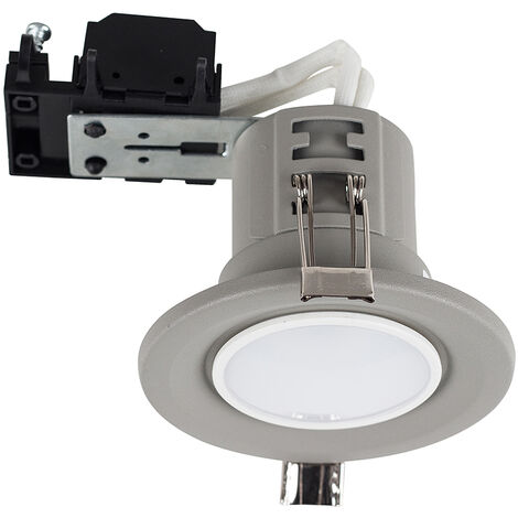 Fire Rated Cement Recessed Ceiling Downlightspotlight + 5W LED GU10 Bulb - Cool White - Grey
