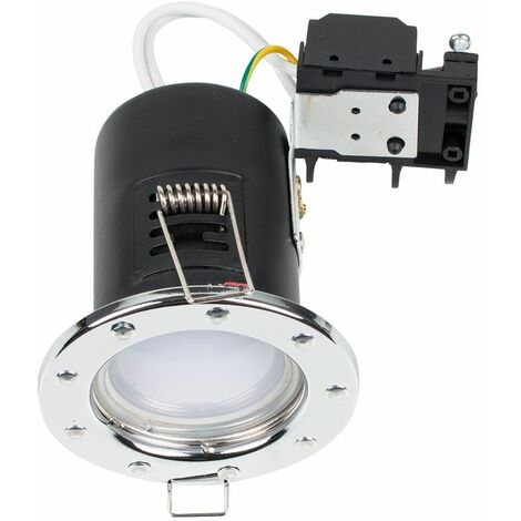 Fire Rated Chrome GU10 Recessed Ceiling Downlight Spotlight