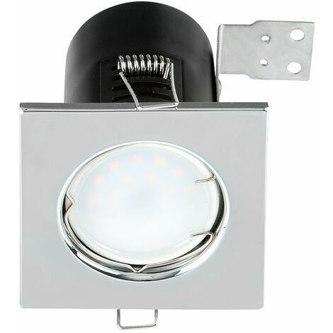 Fire Rated Chrome Square Bezel GU10 Recessed Ceiling Downlight Spotlights