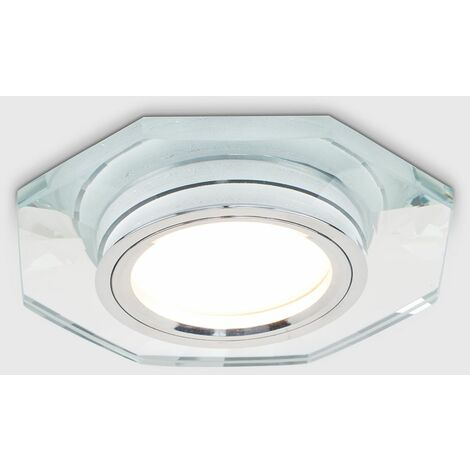Fire Rated Clear Glass & Chrome GU10 Hexagonal Recessed Ceiling Downlight