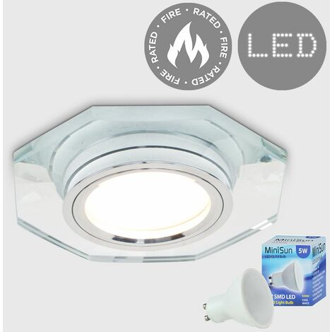 Fire Rated Clear Glass & Chrome Hexagonal Recessed Ceiling Downlight + LED GU10 Bulb - Cool White