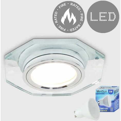 Fire Rated Clear Glass & Chrome Hexagonal Recessed Ceiling Downlight + LED GU10 Bulb - Warm White