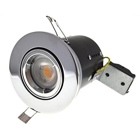 Fire Rated GU10 Lamp Holder Fitting 240v Mains Recessed Ceiling Spot Light Down lighter - Chrome