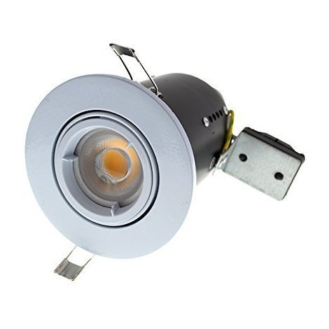 Fire Rated GU10 Lamp Holder Fitting 240v Mains Recessed Ceiling Spot Light Down lighter - White