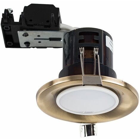 Fire Rated GU10 Recessed Ceiling Spotlight + LED GU10 Bulb - Antique Brassed - Gold