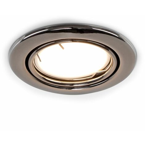 Fire Rated Tiltable Ceiling Recessed Downlight - Black Chrome - Silver