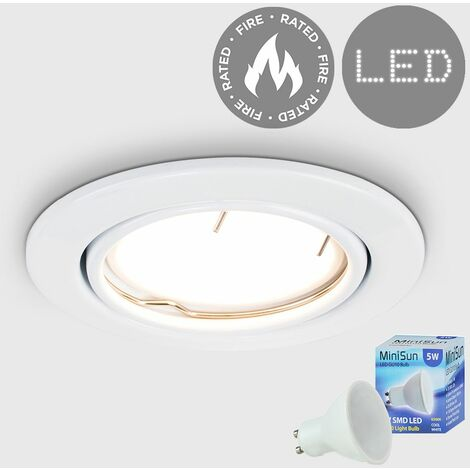 Fire Rated Tiltable Ceiling Recessed Downlight + LED Bulb