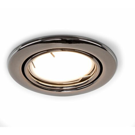 Fire Rated Tiltable Ceiling Recessed Downlight + LED Bulb - Black Chrome - Silver