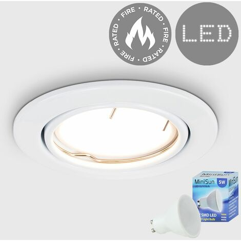 Fire Rated Tiltable Ceiling Recessed + LED GU10 Bulb