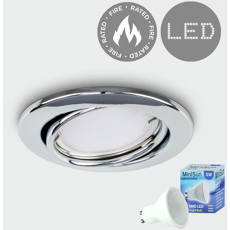 Fire Rated Tiltable GU10 Round Ceiling Recessed + GU10 LED Bulb