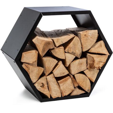 "main image of ""Firebowl Hexawood Black Compartimento de leña Forma hexagonal 50,2x58x32cm"""