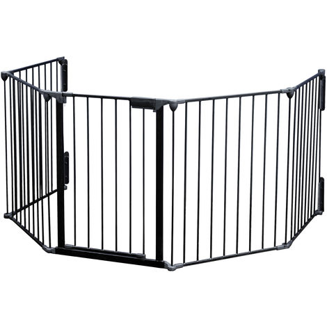 Fireguard XL 300 cm Foldable Barrier for Kids with Door and Wall Mounts 5 Units Made of Steel