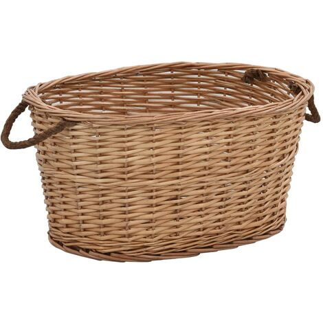 Firewood Basket with Carrying Handles 58x42x29 cm Natural Willow - Brown