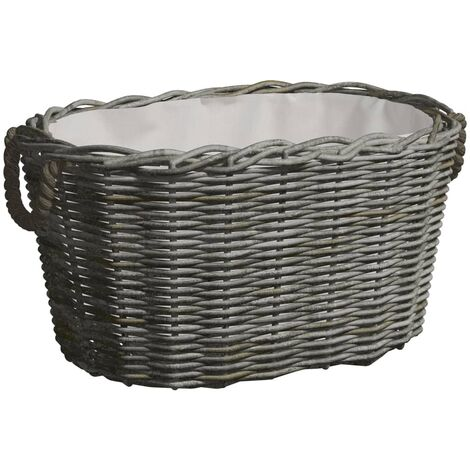 Firewood Basket with Carrying Handles 60x40x28 cm Grey Willow