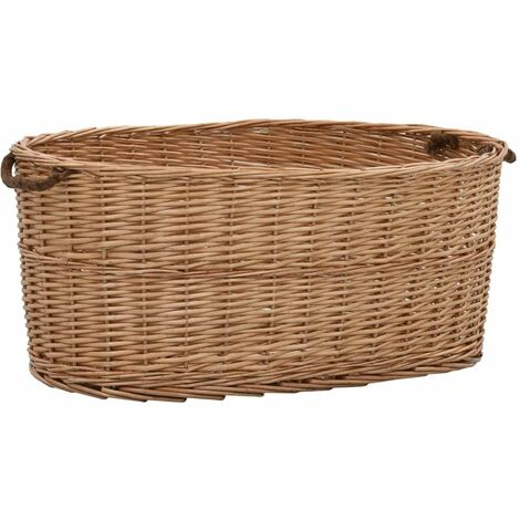 Firewood Basket with Carrying Handles 78x54x34 cm Natural Willow - Brown