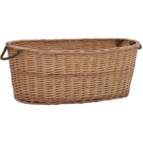 Firewood Basket with Carrying Handles 88x57x34 cm Natural Willow