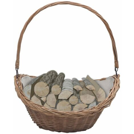 Firewood Basket with Handle 57x46.5x52 cm Brown Willow - Brown