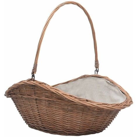 Firewood Basket with Handle 60x44x55 cm Natural Willow - Brown