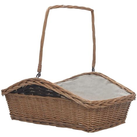 Firewood Basket with Handle 61.5x46.5x58 cm Brown Willow - Brown