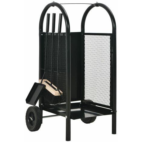Firewood Cart Black 30x35x81 cm Steel