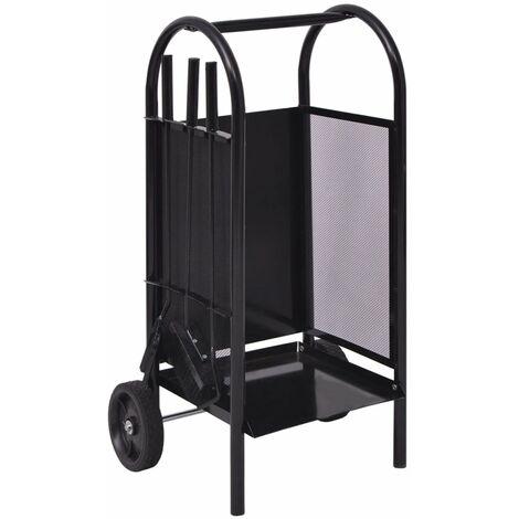 Firewood Cart Iron 35x30x81 cm