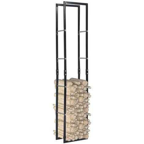 Firewood Rack Black 40x25x200 cm Steel