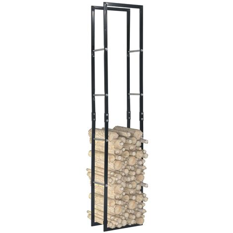 Firewood Rack Black 40x25x200 cm Steel
