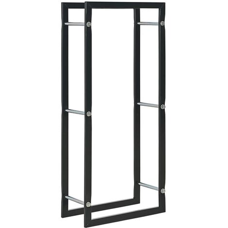 Firewood Rack Black 44x20x100 cm Steel