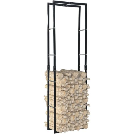 Firewood Rack Black 60x25x200 cm Steel