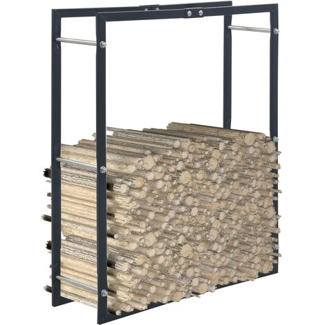 Firewood Rack Black 80x25x100 cm Steel