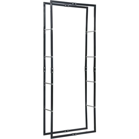 Firewood Rack Black 80x25x200 cm Steel