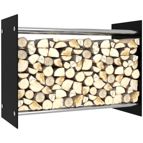 Firewood Rack Black 80x35x60 cm Glass