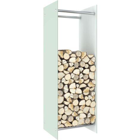 Firewood Rack White 40x35x120 cm Glass