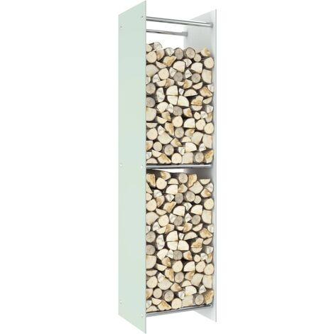 Firewood Rack White 40x35x160 cm Glass