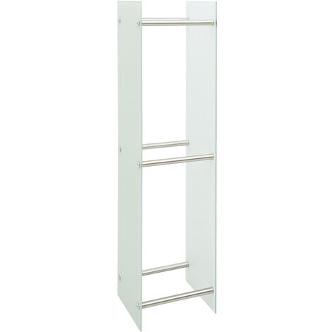 Firewood Rack White 40x35x160 cm Glass