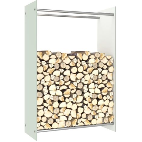Firewood Rack White 80x35x120 cm Glass