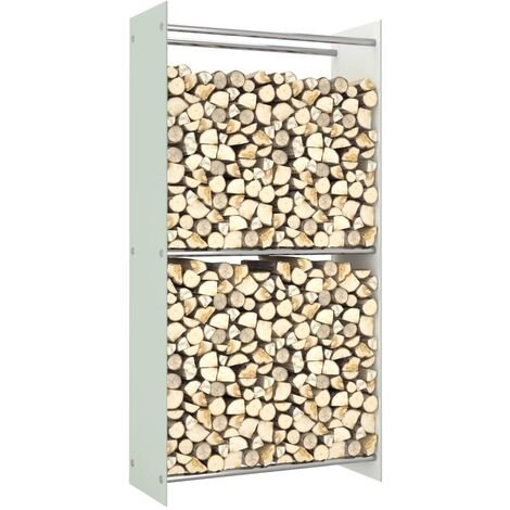 Firewood Rack White 80x35x160 cm Glass