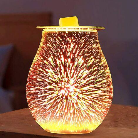 Firework aroma lamp, 3d electric glass perfume lamp firework effect night light burner essential oil burner cast iron wax cylinder
