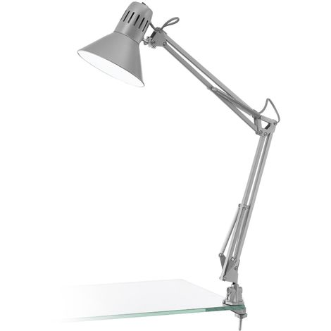FIRMO Table Lamp Clip-Lamp 1 Light Steel, Plastic Silver