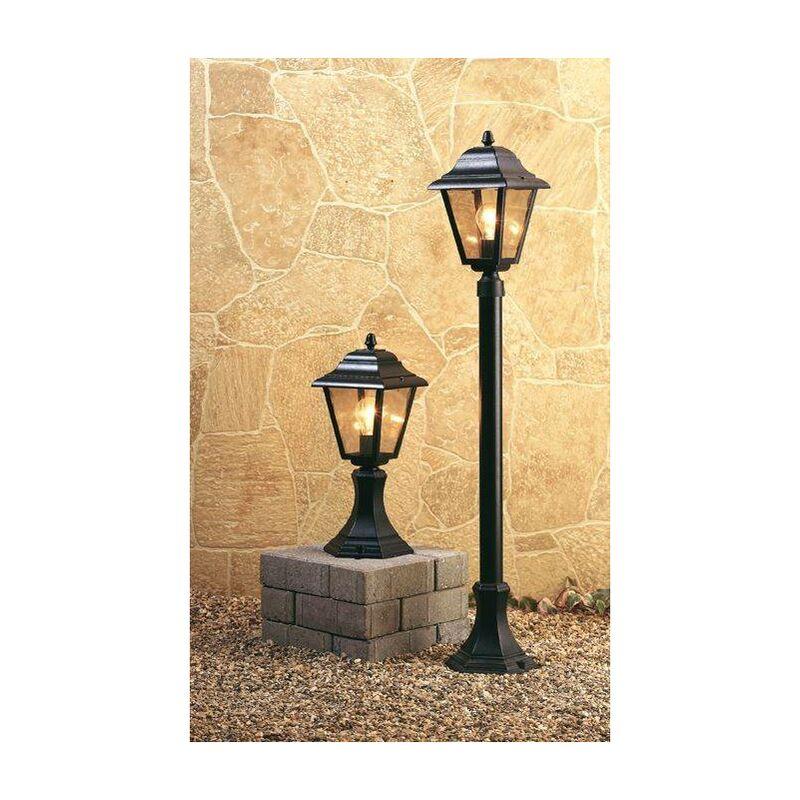 Image of 1 Light 4 Panel Lantern - Pillar Black IP43, E27 - Firstlight