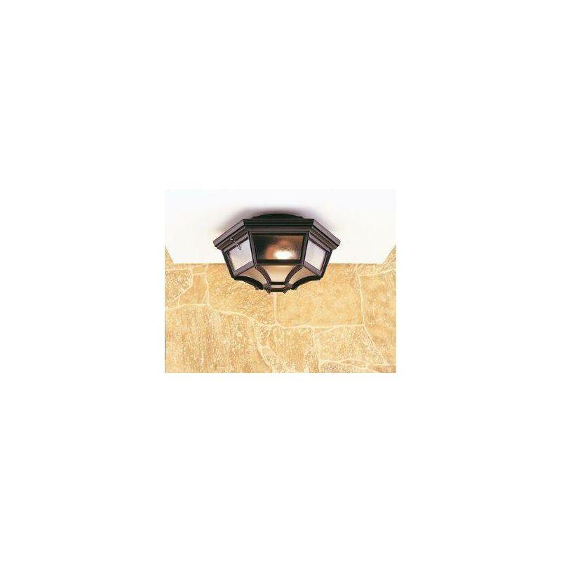Image of 1 Light 6 Panel Lantern - Flush Ceiling Light Black IP43, E27 - Firstlight
